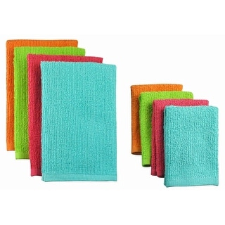 Pack of 8 Solid Tropical Colored Dish Towel and Wash Cloth Kitchen Accessory Set - Terry Cloth
