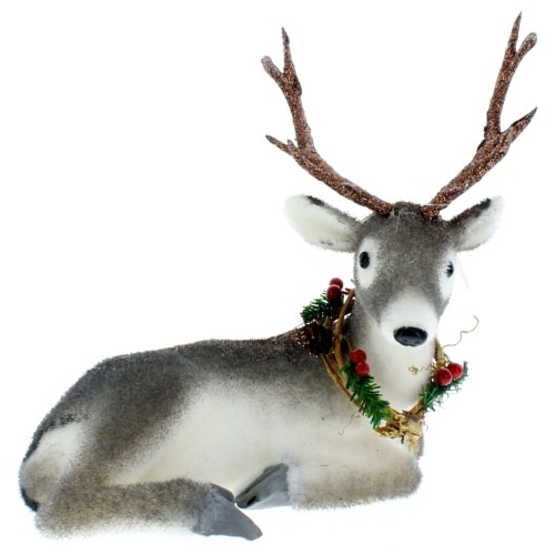 Resting Deer with Wreath