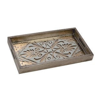Link to Wood Serving Tray with Stenciled Glass Bottom, Set of 2 Similar Items in Serveware