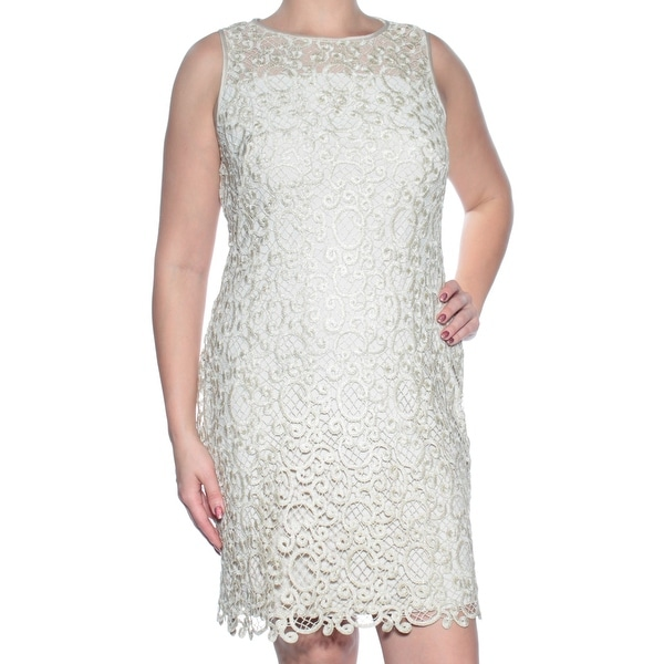 Ralph Lauren Womens Beige Lace Sleeveless Illusion Neckline Above The Knee Sheath Dress Size: 14