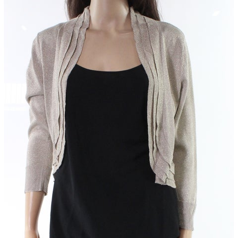 RSVP Gold Womens Medium Open Shimmer Bolero Sweater