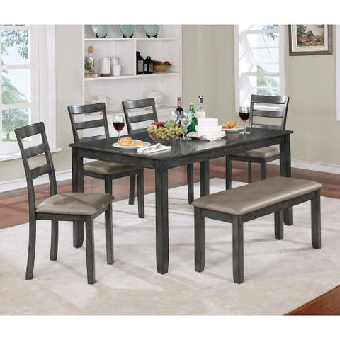 Furniture of America Seralin Contemporary 6-piece Faux Leather Brown Cherry Dining Set