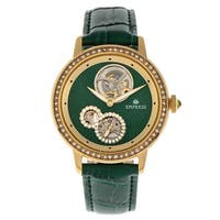 Empress Tatiana Automatic Semi-Skeleton Leather-Band Watch - Green