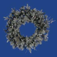 "24"" Frosted Wistler Fir Artificial Christmas Wreath - Unlit - green"