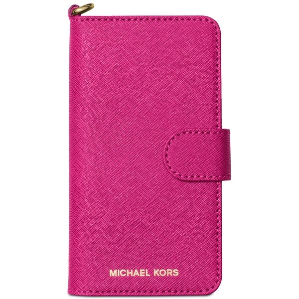 Michael Kors NEW Pink Raspberry Saffiano Iphone 7 Tab Folio Case Wallet