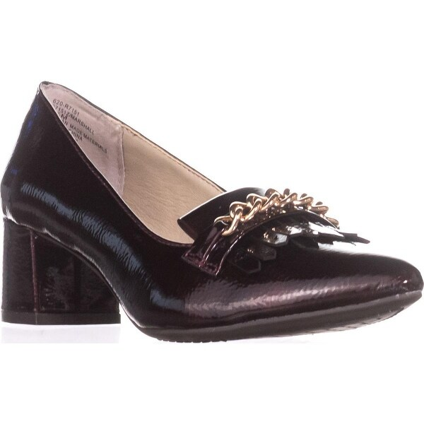 Rialto Marshall Pointed Toe Loafer Heels, Burgundy/Patent