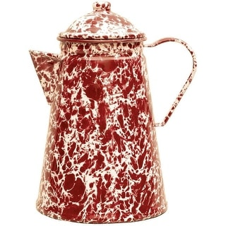 Crow Canyon D45BRM Coffee Pot, 12 Cup, Burgundy on Cream Marble