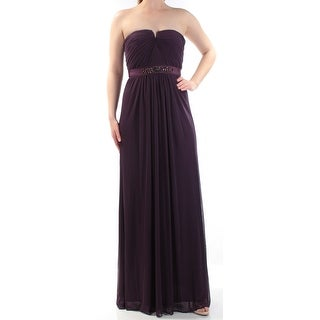 Womens Purple Sleeveless FullLength Shift Evening Dress Size: 4