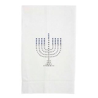 Hanukkah Themed Rhinestone Embellished Linen Tea Towel