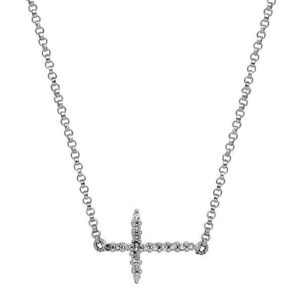 Sideways Cross Necklace with Diamonds in 14K White Gold