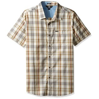 Volcom Beige Mens Size Small S Modern Fit Button Down Plaid Shirt