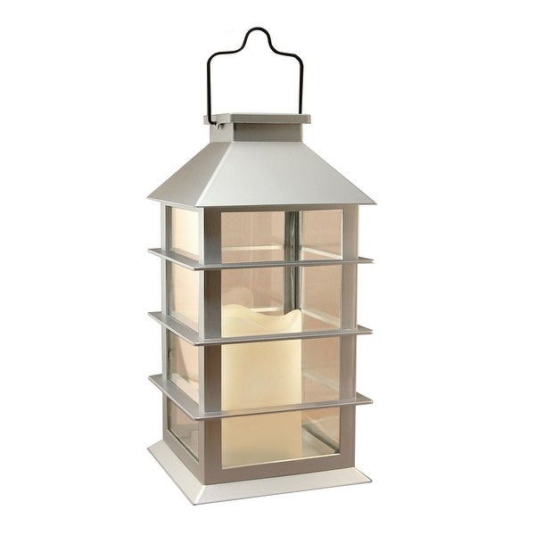 "13.5"" Silver Colored Horizontal Styled Solar Powered Lantern with LED Candle - N/A"