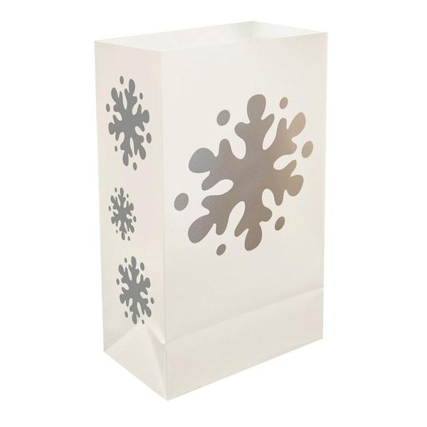 "12 Traditional Weather Resistant Festive Winter Snowflake Luminaria Bags 10"" - WHITE"