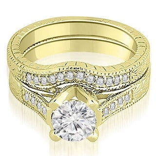1.00 CT.TW Antique Cathedral Round Cut Diamond Engagement Set - White H-I