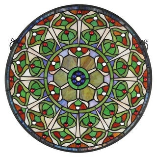 Design Toscano Peacock's Plumage Medallion Tiffany-Style Stained Glass Window