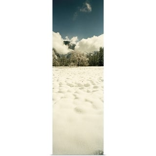 """Snow covered landscape, Yosemite Valley, Yosemite National Park, Mariposa County, California"" Poster Print"
