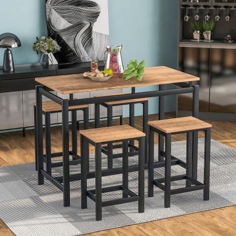 Industrial 5-Piece Kitchen Counter Height Table Set- 4 Chairs
