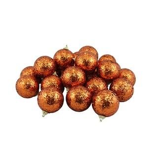 "24ct Orange Shatterproof Sequin Finish Christmas Ball Ornaments 2.5"" (60mm)"