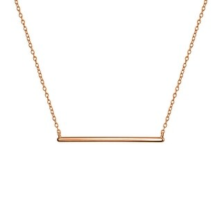Bling Jewelry Rose Gold Plated Silver Modern Bar Pendant Necklace 16 Inches