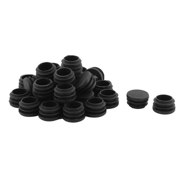 Plastic Round Shaped Desk Table Chair Floor Protector Tube Insert Black 30 Pcs
