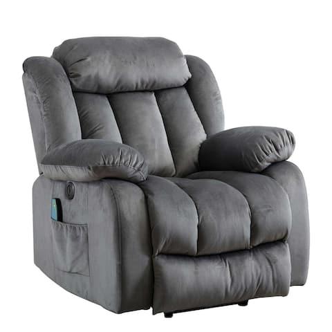 Single Modern Velvet Electric Massage Lift Recliner(Grey)