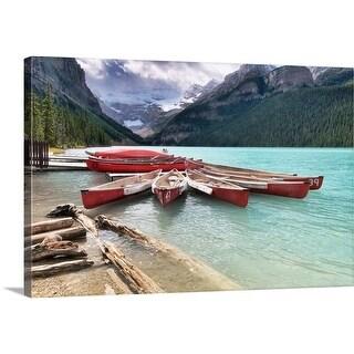 Premium Thick-Wrap Canvas entitled Lake Louise canoe rental, Canada