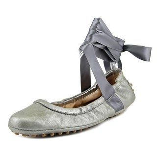 Tod's Ballerina Gommini Danza Women Round Toe Leather Silver Dance