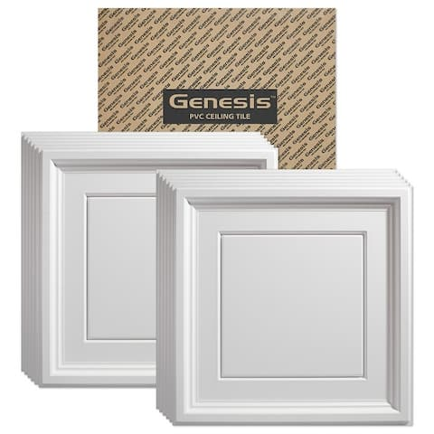 Genesis Icon Coffer White 2 x 2 ft. Lay-in Ceiling Tiles