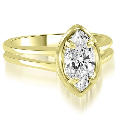 0.75 cttw. 14K Yellow Gold Split Shank Marquise Cut Halo Diamond Engagement Ring
