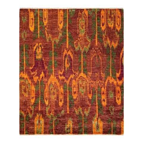 """Modern, One-of-a-Kind Hand-Knotted Area Rug - Red, 7' 10"""" x 7' 10"""" - 7' 10"""" x 7' 10"""""""