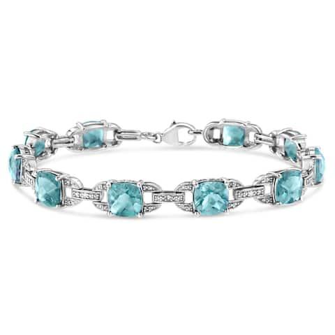".925 Sterling Silver 7x7mm Cushion-Cut Birthstone and Diamond Accent Link Bracelet (I-J, I1-I2) - 7""- Choice of Gemstone"