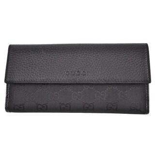 "Gucci 143389 Women's Black Canvas Leather GG Guccissima Bifold Wallet - 7"" x 3.5"""