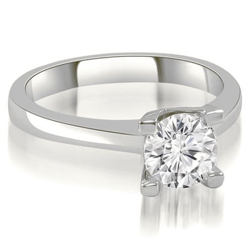0.50 cttw. 14K White Gold Classic Solitaire Round Cut Diamond Engagement Ring