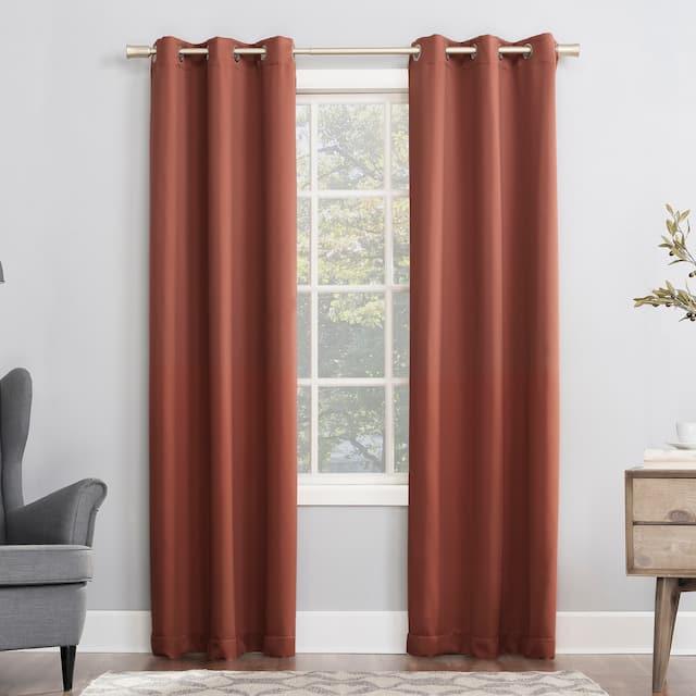 Sun Zero Hayden Energy Saving Blackout Grommet Curtain Panel, Single Panel - 40x54 - Terracotta Red