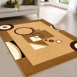 "AllStar Brown Area Rug. Contemporary. Abstract. Traditional. Geometric. Formal. Shapes. Squares. Circles (5' 2"" x 7' 1"")"