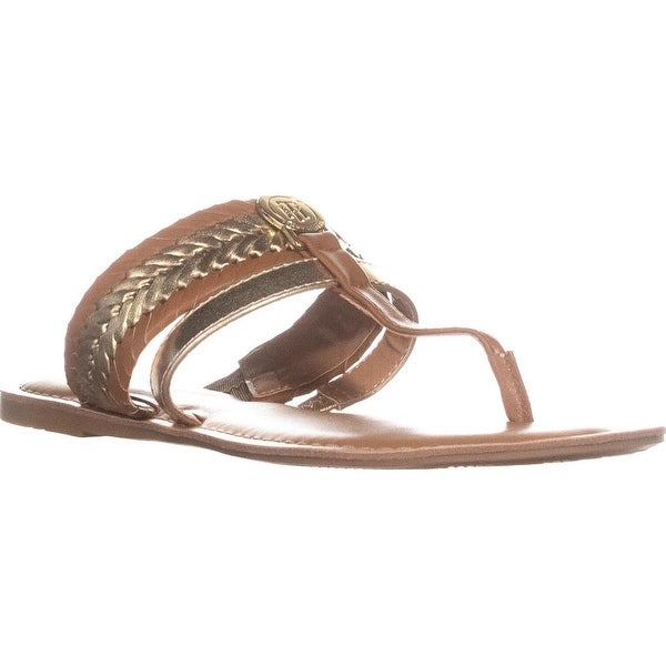 Tommy Hilfiger Lady T-Strap Braided Slide Flat Sandals, Gold - 7.5 us