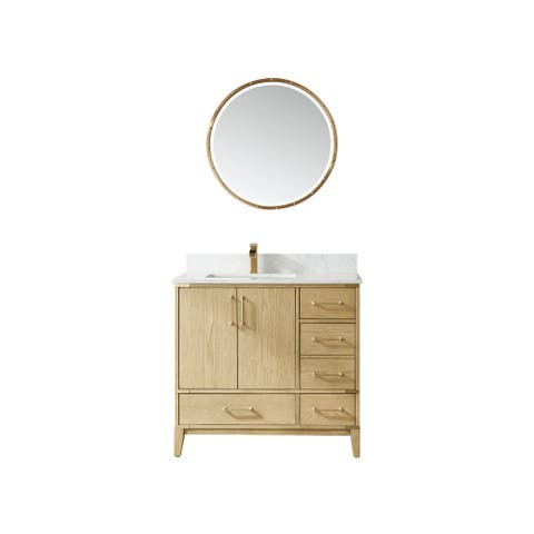 """Zaragoza 36"""" Vanity in Washed Ash with Countertop With Mirror"""