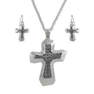 Silvertone Cross Necklace and Dangle Earrings Set - Silver https://ak1.ostkcdn.com/images/products/is/images/direct/ef54e70d79a8a32919bb719883e19ad37d496d02/Silvertone-Cross-Necklace-and-Dangle-Earrings-Set.jpg?impolicy=medium