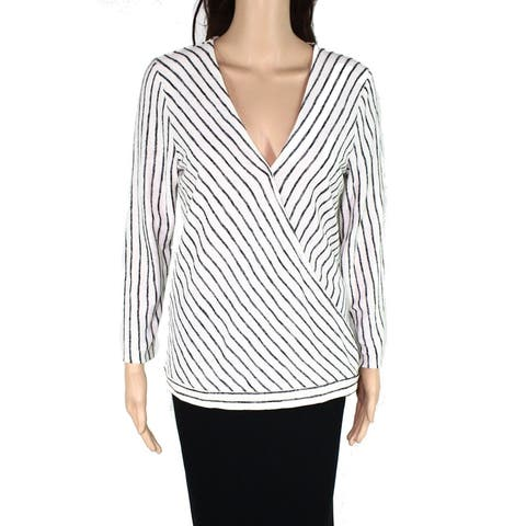 INC Women's Knit Top Blouse White Ivory Size Medium M Surplice Striped