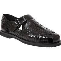 Deer Stags Men's Bamboo2 Closed Toe Sandal Black Buffalo Leather