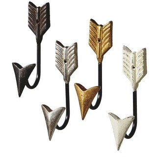 Set of 4 Gold and White Arrow Decorative Four Assorted Wall Hook 6.875""