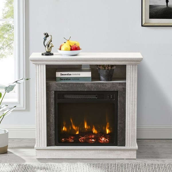 32 in. Freestanding Electric Fireplace in Saw Cut-off White. Opens flyout.