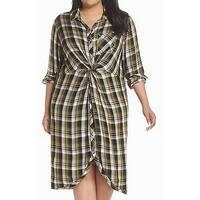 Caslon Black Women Size 1X Plus Plaid Print Twist Front Shift Dress