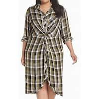 Caslon Black Yellow Womens Size 3X Plus Plaid Print Shift Dress