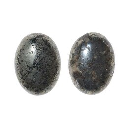 Pyrite Gemstone Oval Flat-Back Cabochons 18x13mm (2 Pieces)