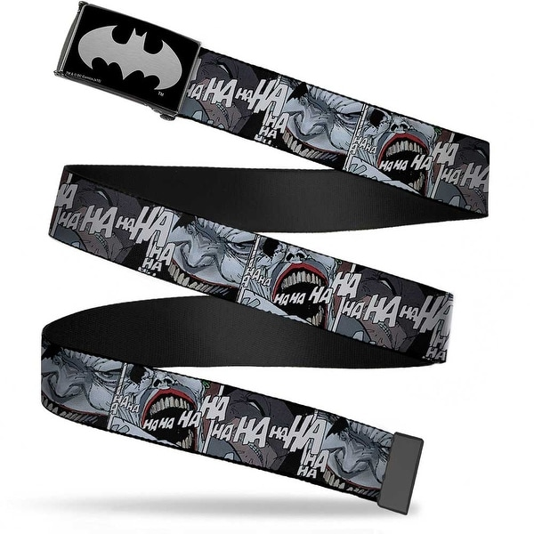 Batman Reverse Brushed Silver Cam Joker Laughing Close Up Black White Web Belt