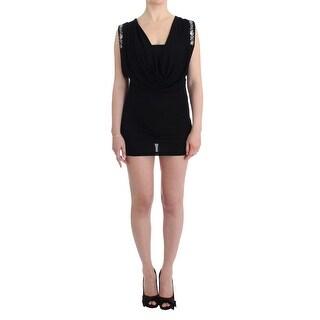 Roccobarocco Black Embellished Jersey Mini Sheath Short Dress