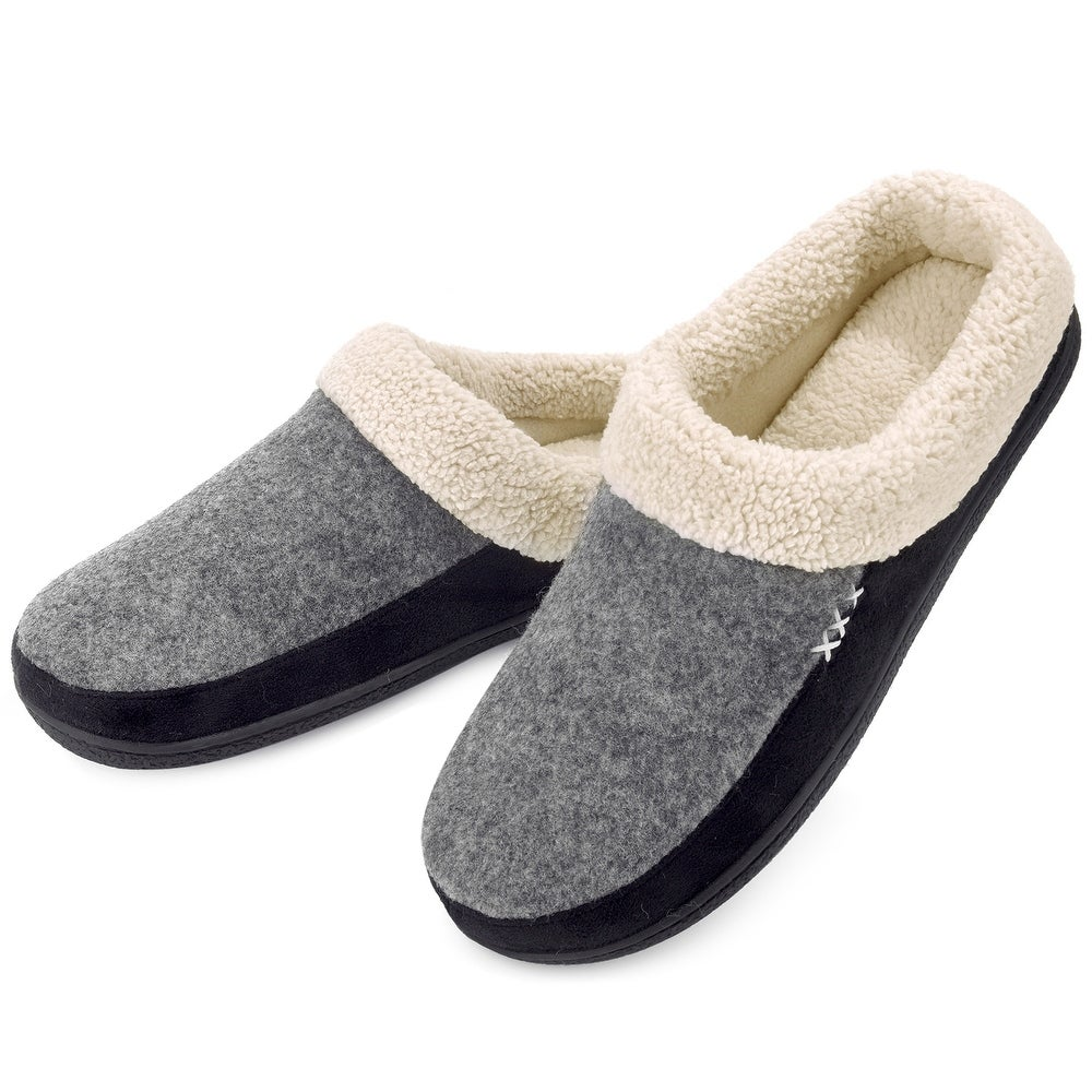 Vonmay Mens Memory Foam Slip-On Wool Fleece Garden Shoes