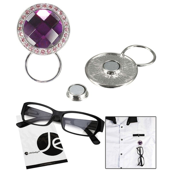 JAVOedge Purple and Pink Gem Style Magnetic Eyeglass Receptacle Holder