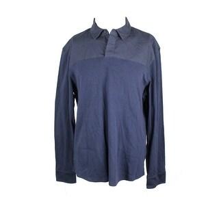 Perry Ellis Navy One-Button Long-Sleeve Polo Shirt XL